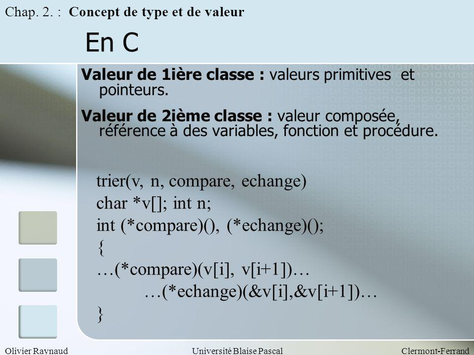 En C trier(v, n, compare, echange) char *v[]; int n;